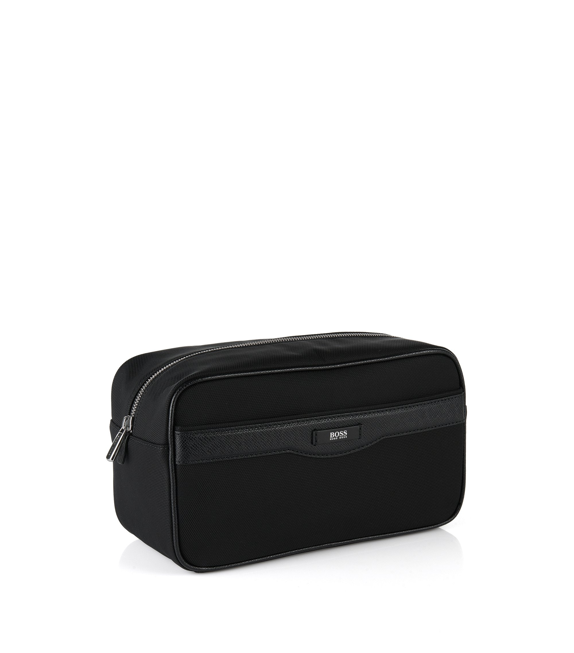 Trousse de toilette avec garnitures en cuir issue de la Signature Collection, Noir