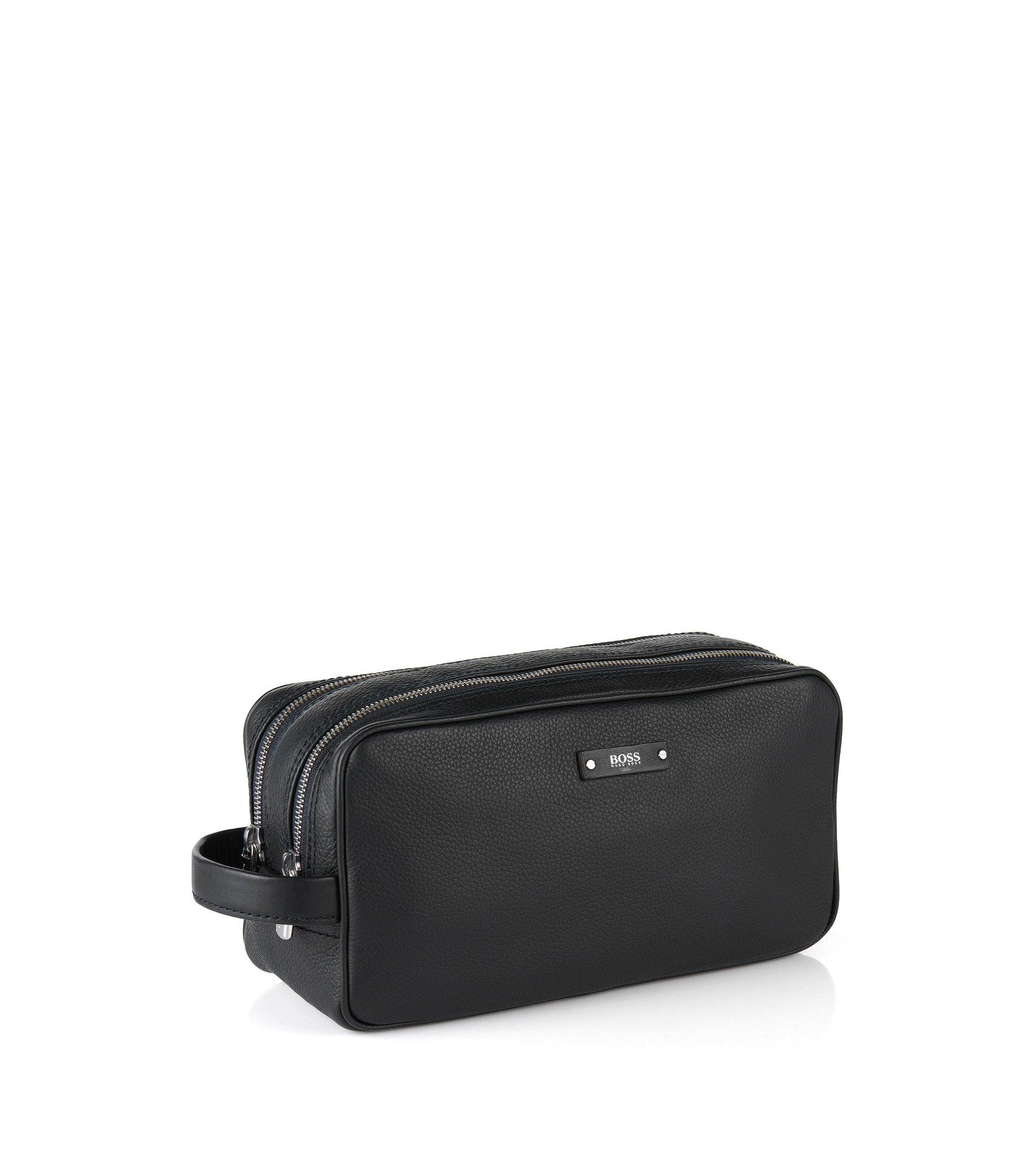 Trousse de toilette en cuir italien de la collection Traveller, Noir