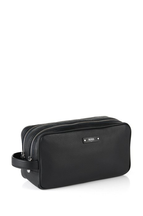 Traveller Collection Italian leather washbag , Black