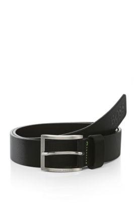 Cinturón de piel con textura: 'Tienzo', Negro