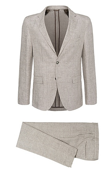 Extra-slim-fit suit in linen: 'T-Norten/Bexter', Open Beige