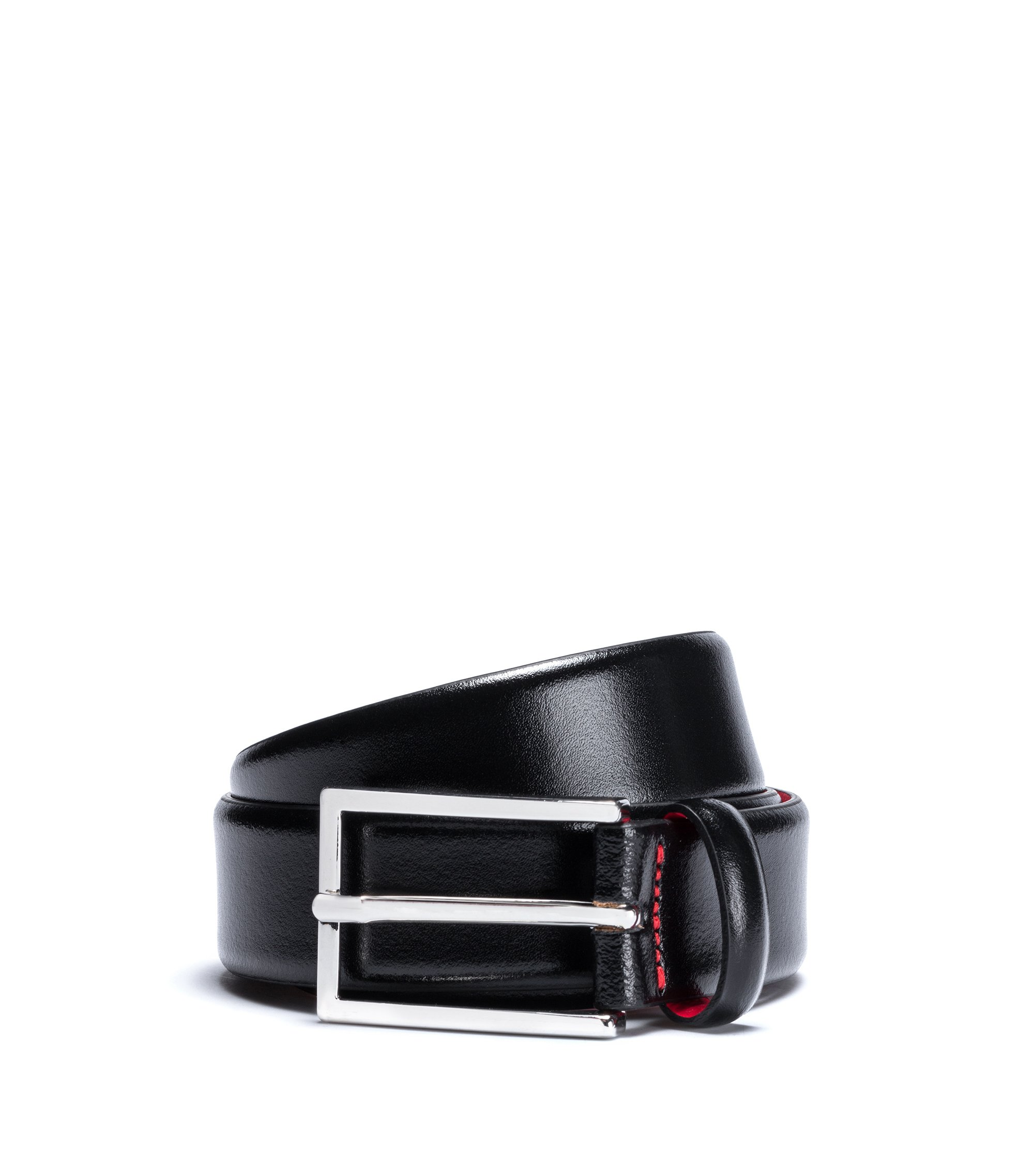 Leather belt with pigmented coating, Black