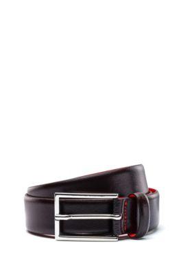 Cinturón de piel con revestimiento pigmentado, Marrón oscuro