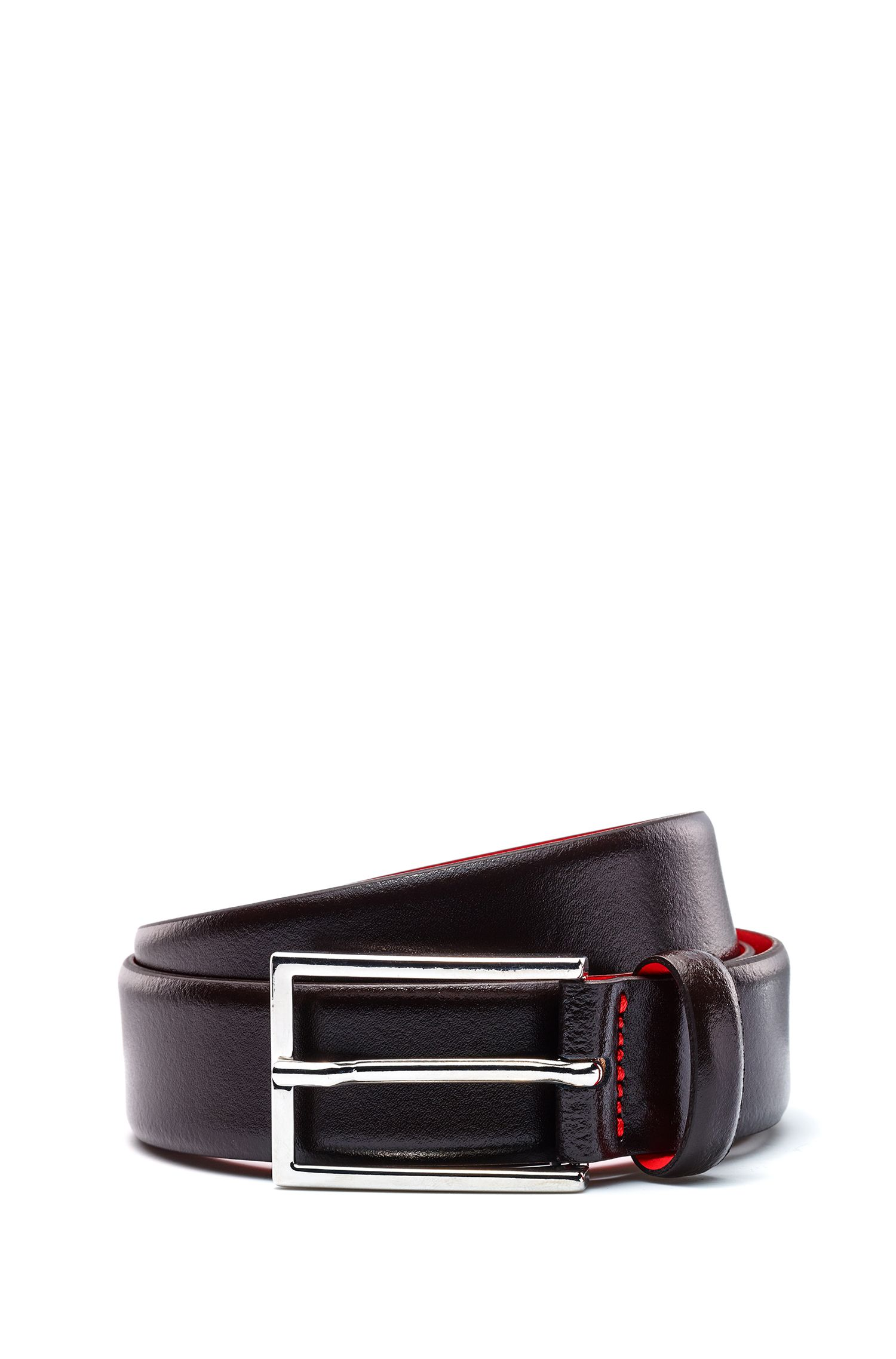 Leather belt with pigmented coating, Dark Brown