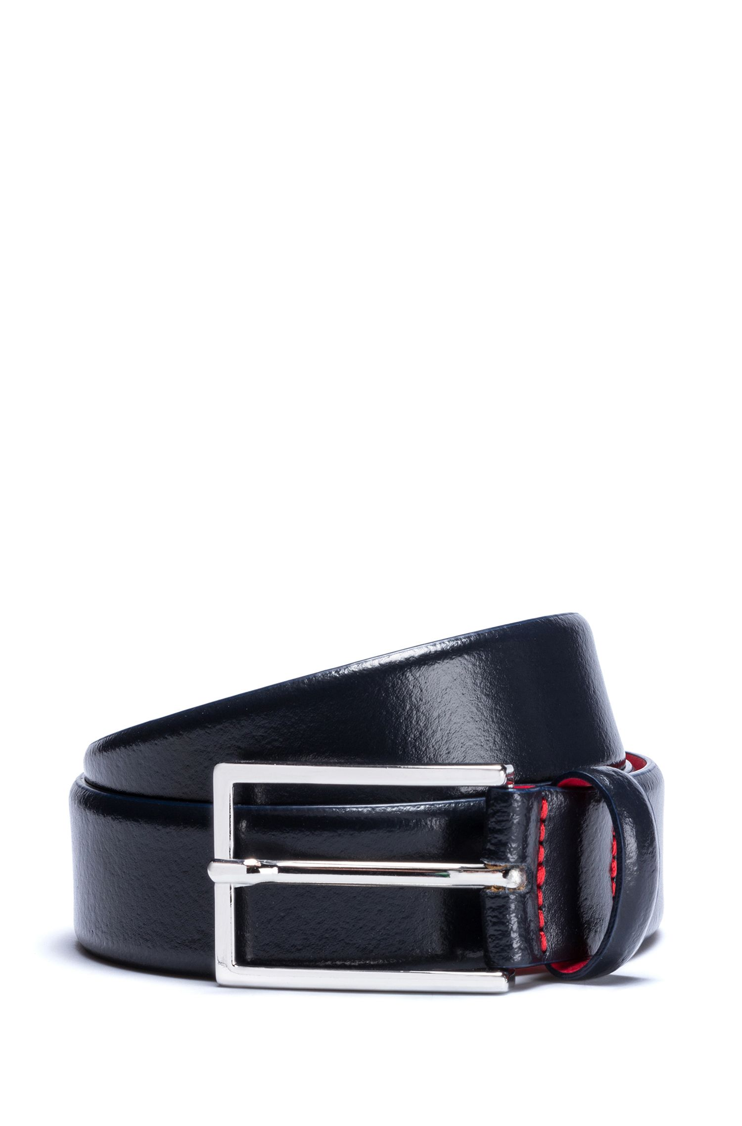 Leather belt with pigmented coating, Dark Blue