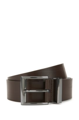 Leather belt with metal buckle: 'Gibud', Dark Brown