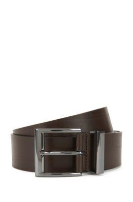 Cinturón de piel con hebilla de metal: 'Gibud', Marrón oscuro