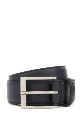 Leather belt with tonal stitching, Dark Blue