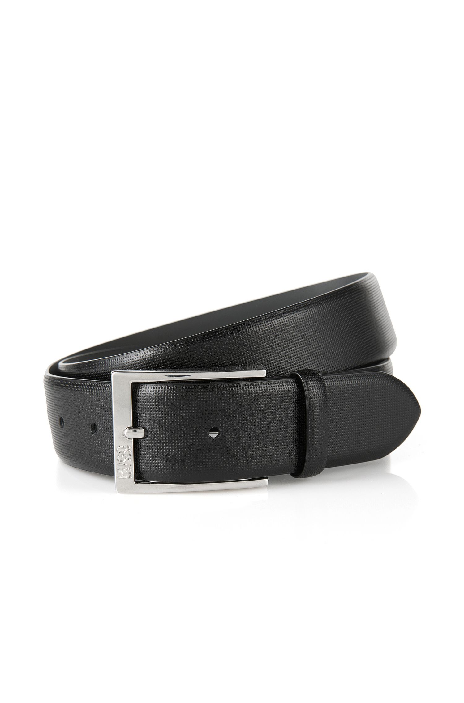 Pin-buckle belt in embossed leather, Black