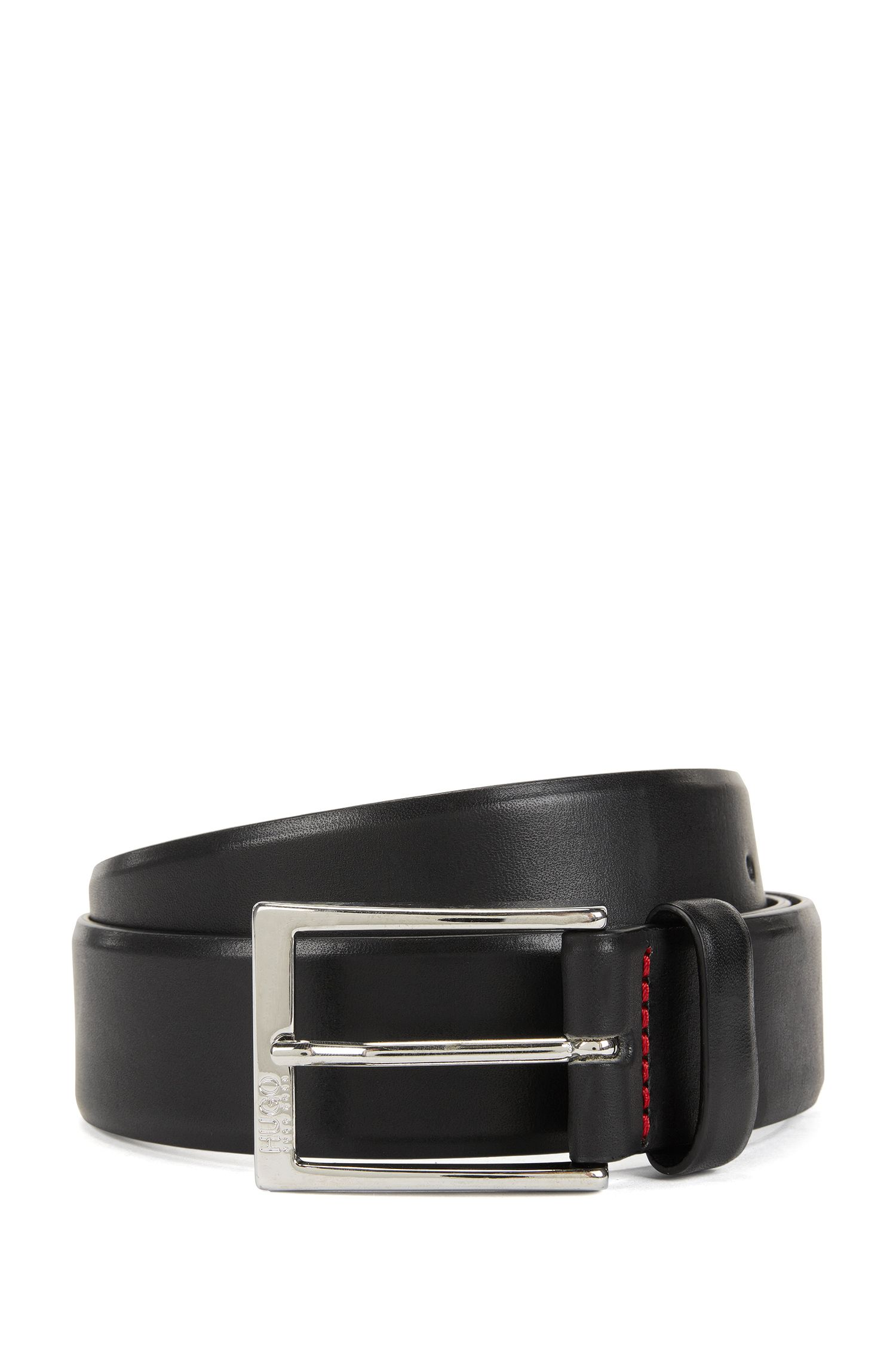 Polished metal pin-buckle belt in vegetable-tanned leather, Black