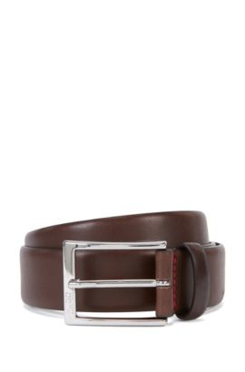 Polished metal pin-buckle belt in vegetable-tanned leather, Dark Brown