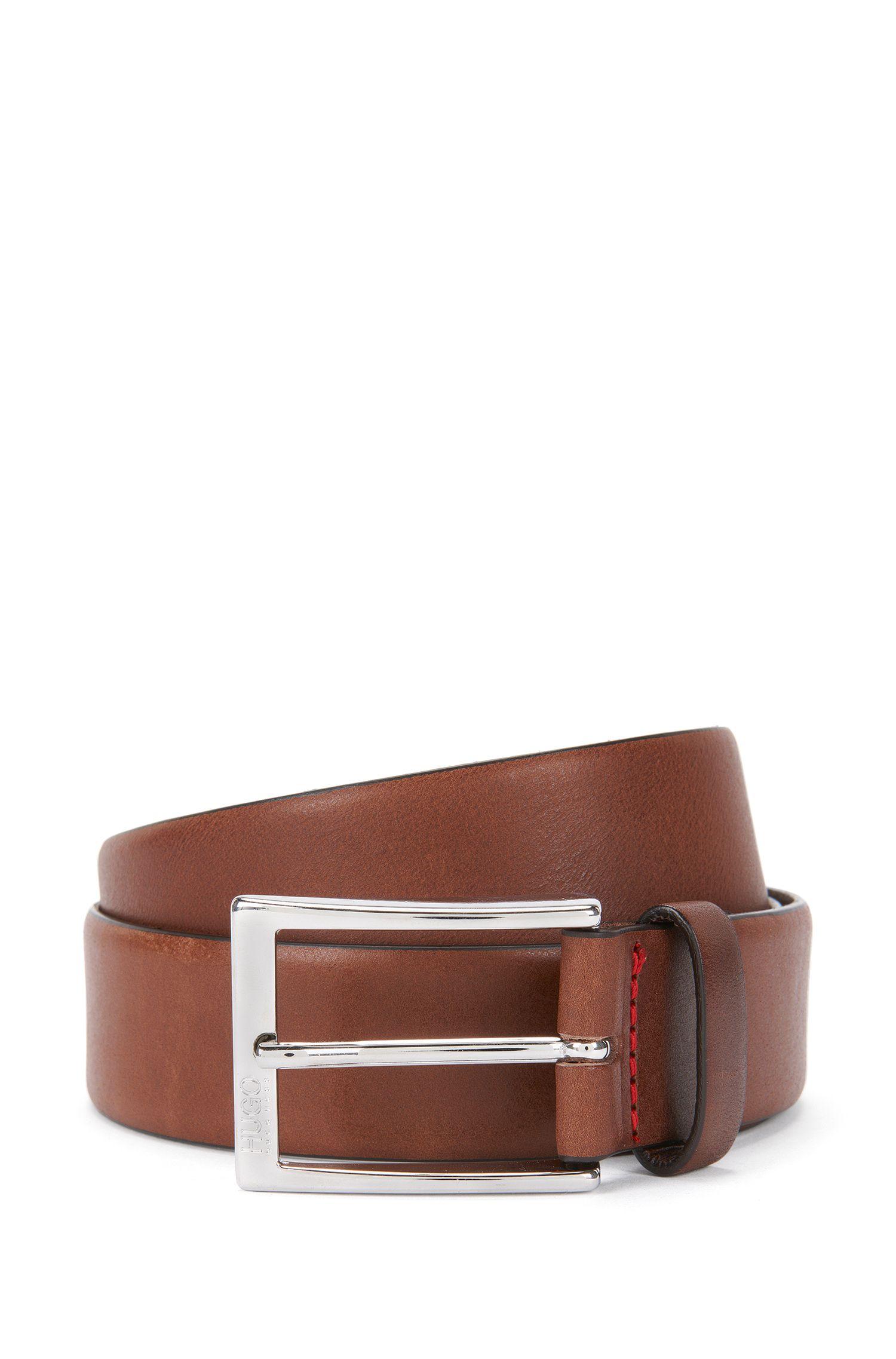 Cintura con fibbia ad ardiglione in metallo lucido in pelle conciata al vegetale