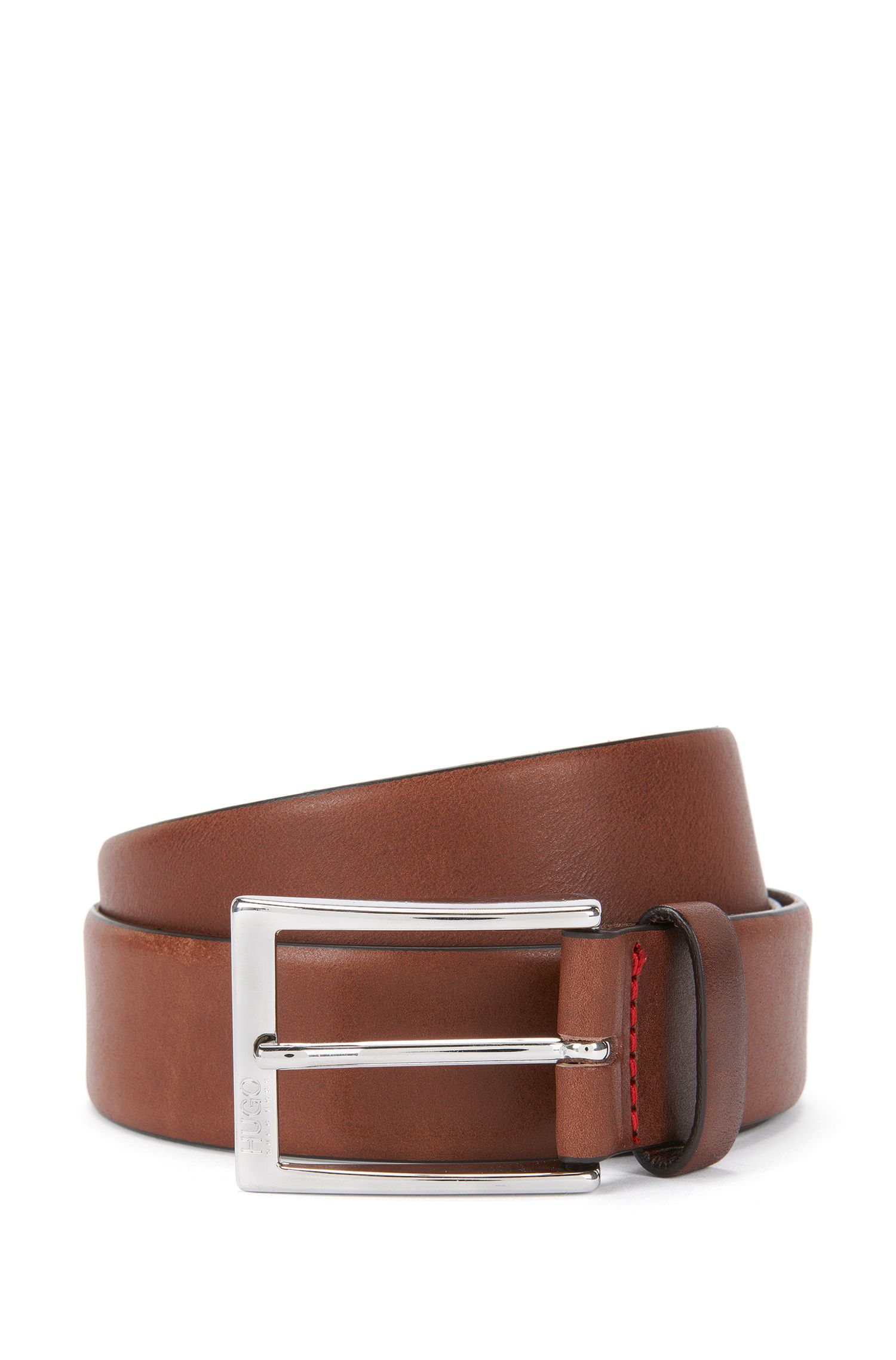 Polished metal pin-buckle belt in vegetable-tanned leather, Brown