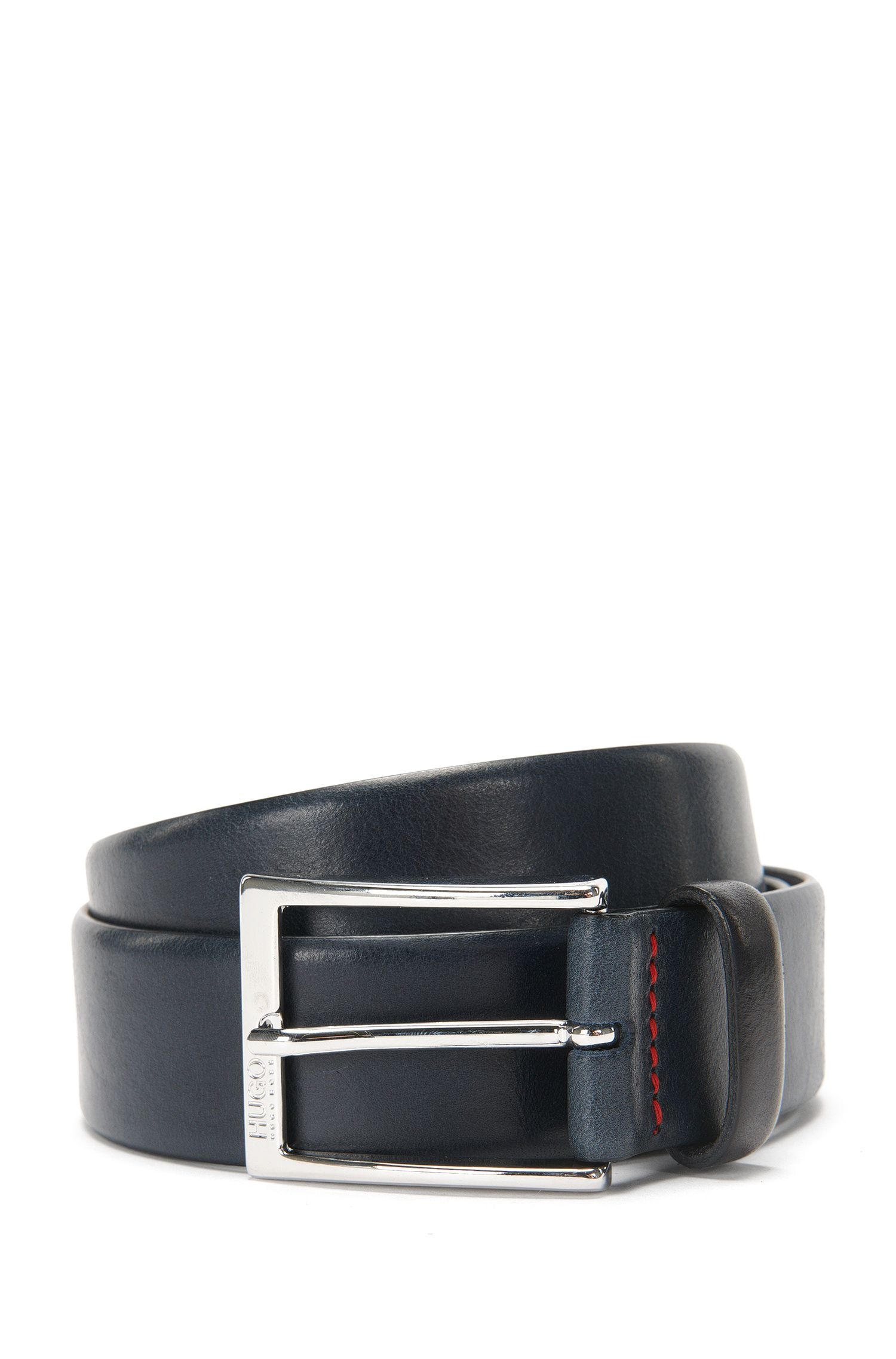 Polished metal pin-buckle belt in vegetable-tanned leather