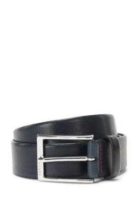 Polished metal pin-buckle belt in vegetable-tanned leather, Dark Blue