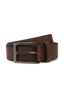 Braided leather belt: 'Carmai', Brown