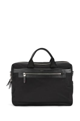 Dubbele workbag van nylon met leren garneersel, Zwart