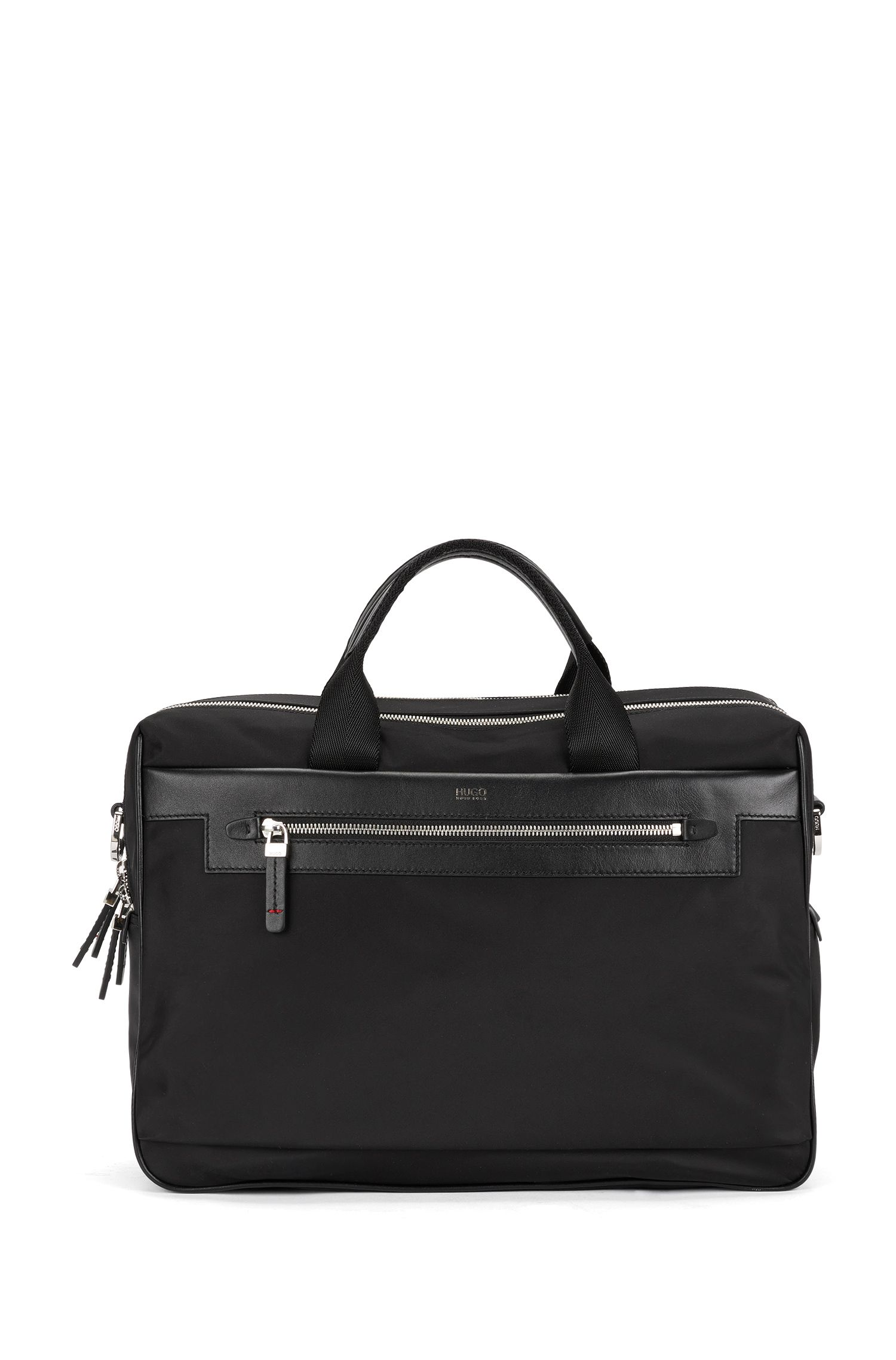 Double work bag in nylon with leather trim