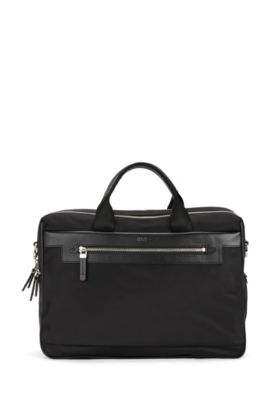 Double work bag in nylon with leather trim, Black