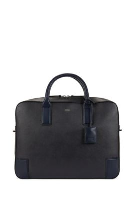 Document case in printed leather, Dark Blue
