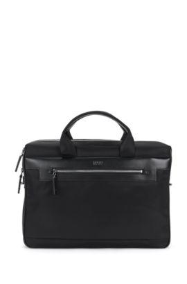 Workbag van een materiaalmix met leren garneersel: 'Digital L_S doc', Zwart