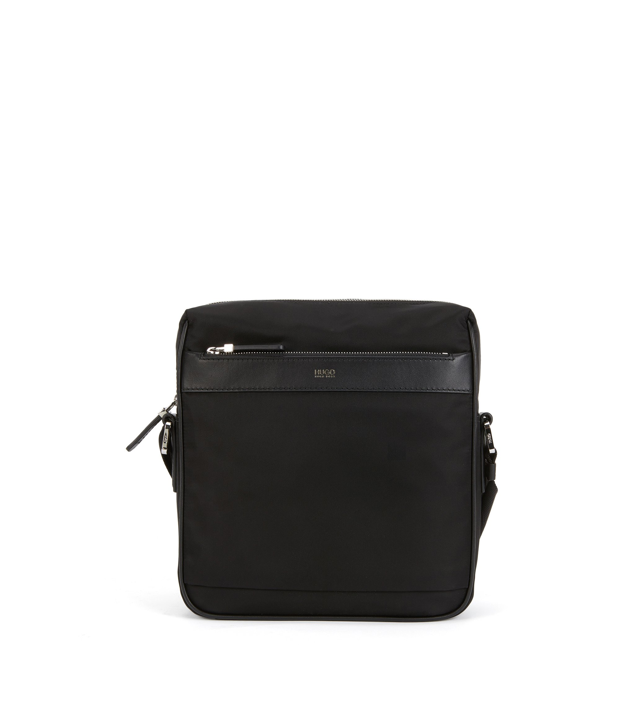 Lightweight cross-body bag with leather trim, Black