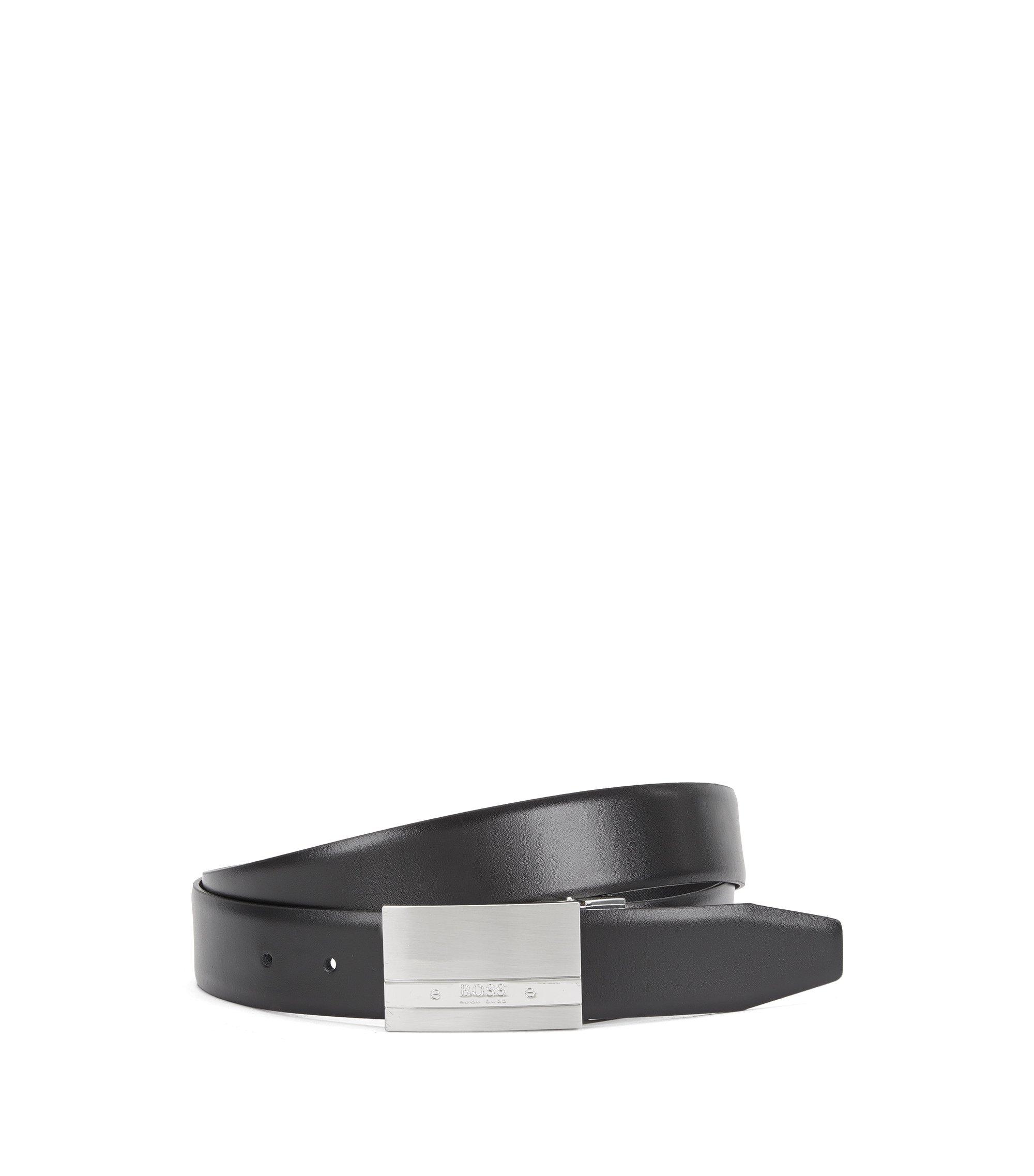 Cintura reversibile con fibbia a placca in metallo spazzolato , Nero