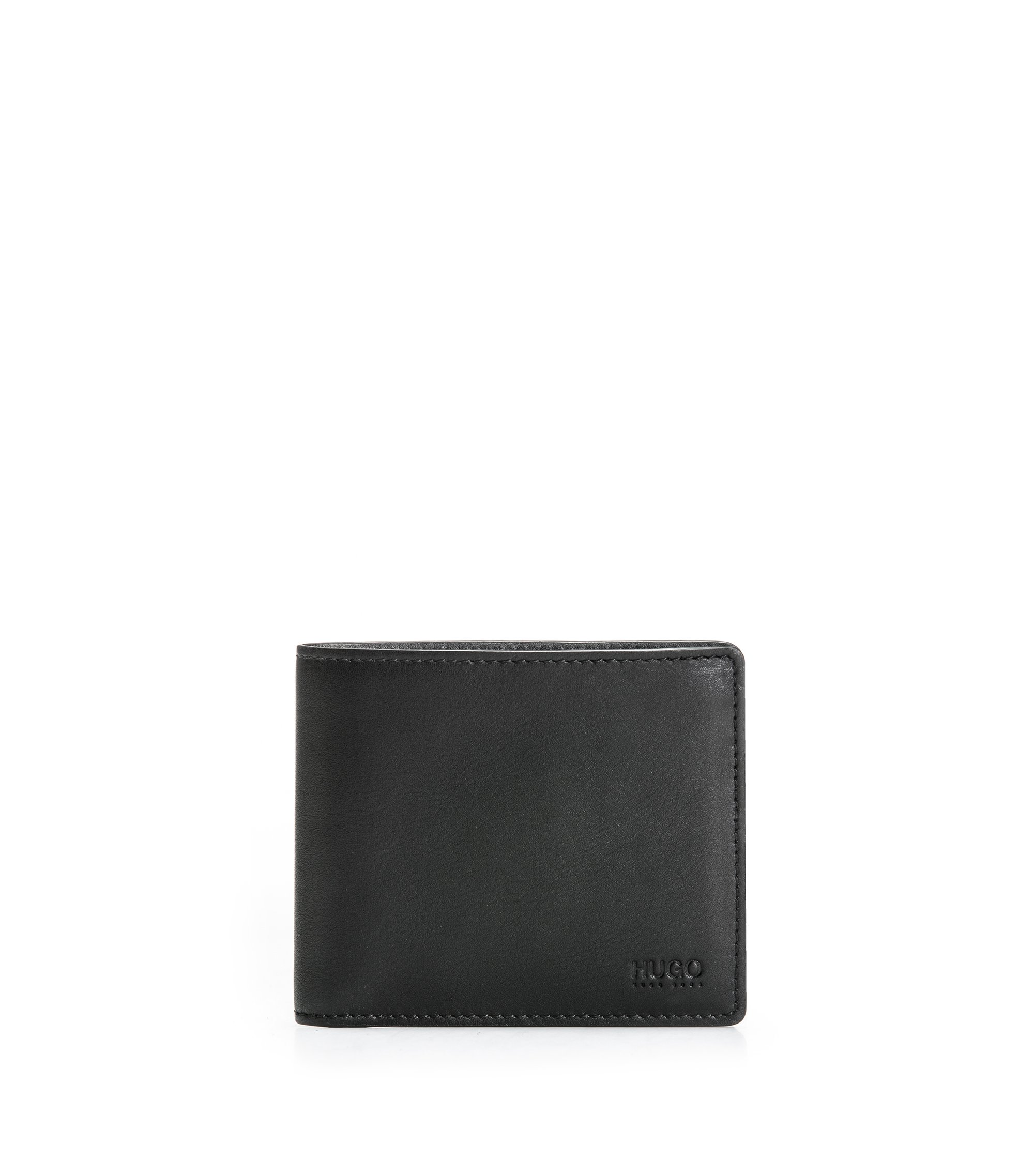 Bifold wallet in smooth leather , Black