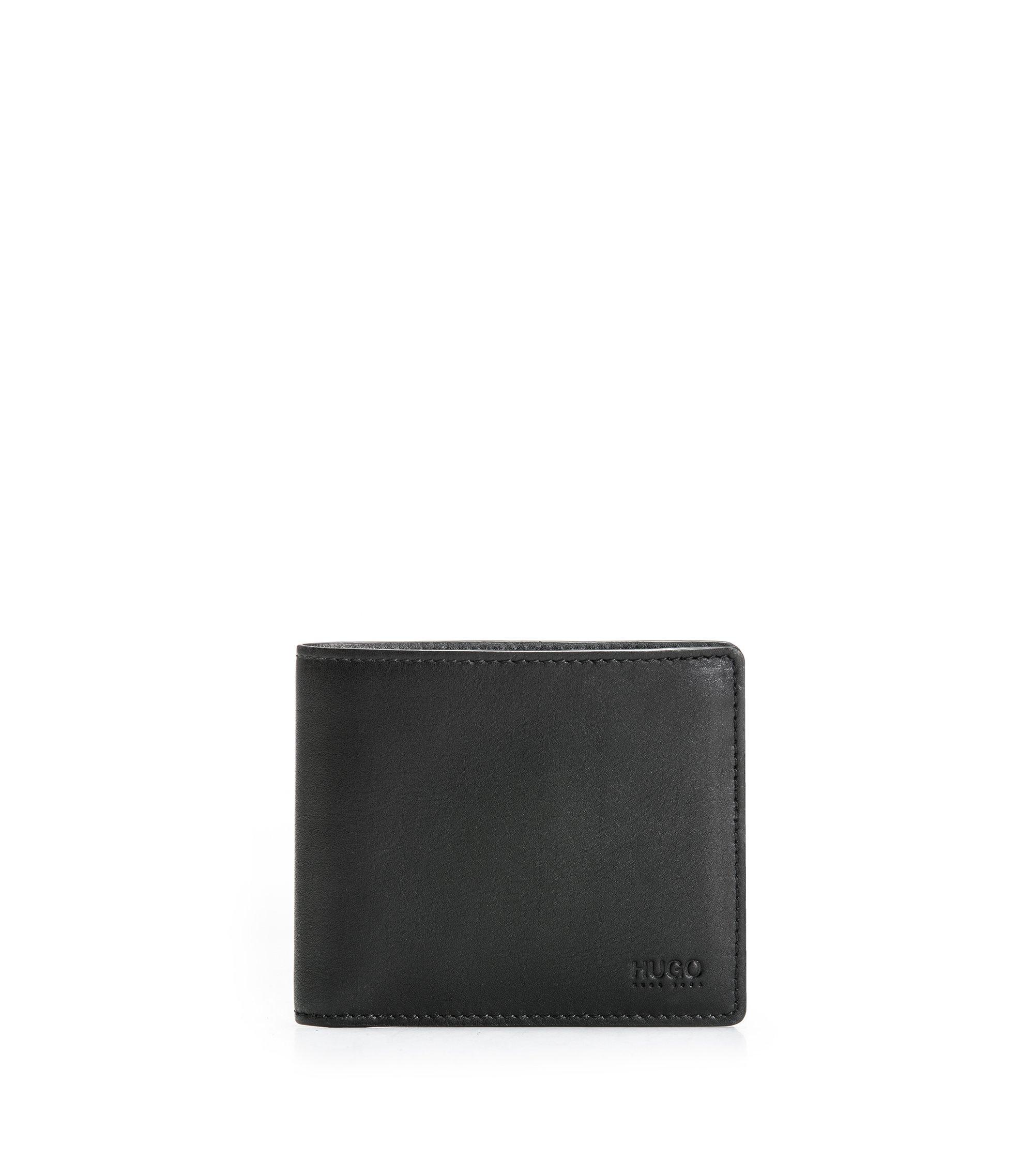 Portefeuille à deux volets en cuir lisse , Noir