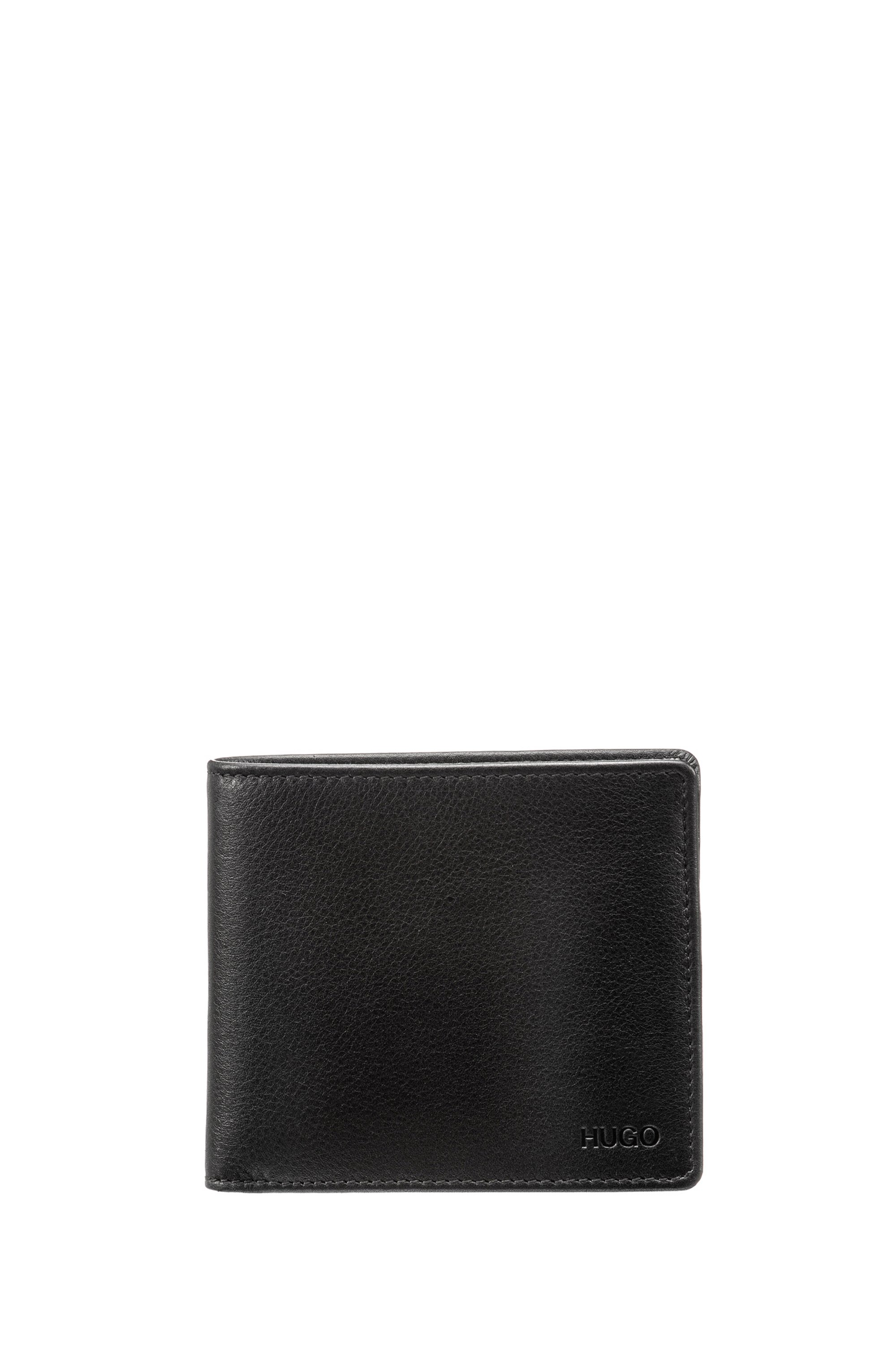 Bi-fold wallet in smooth leather, Black