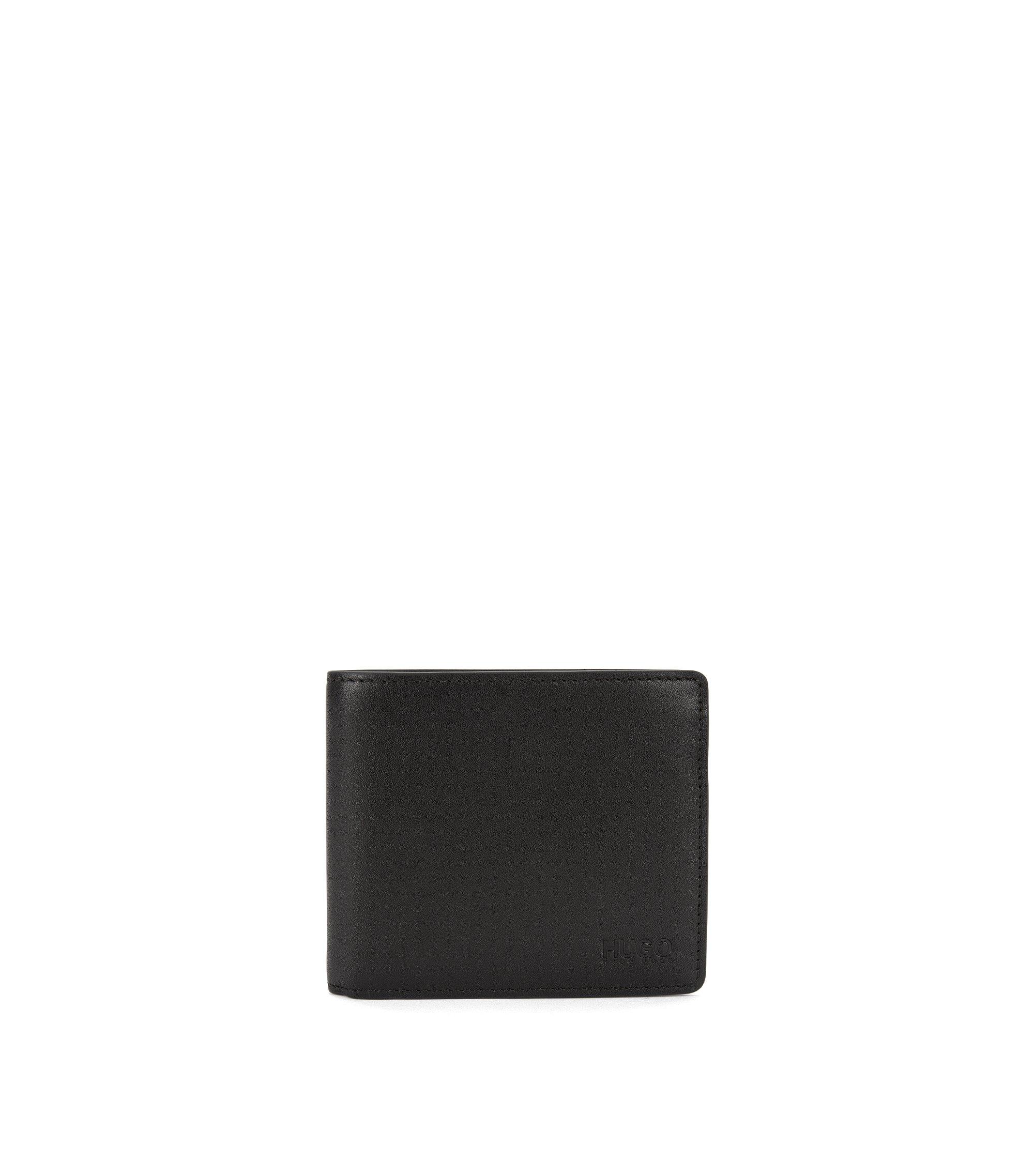Klapp-Geldbörse aus Glattleder, Schwarz
