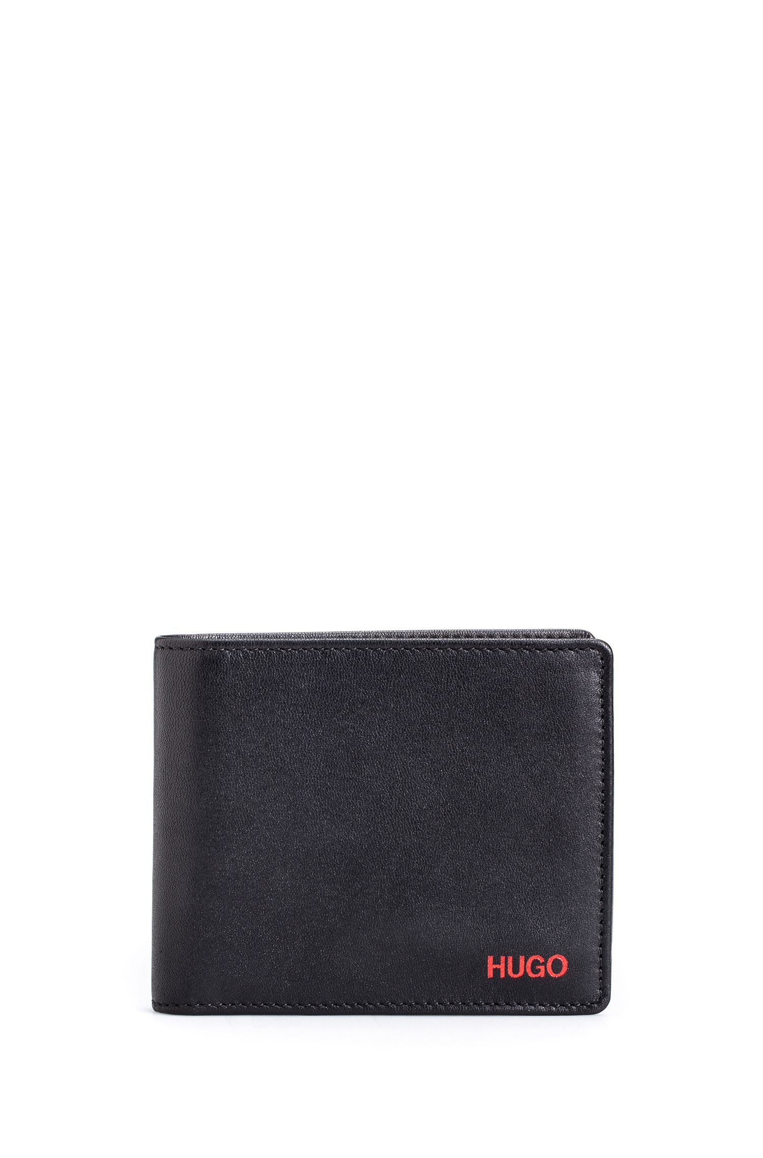 Tri-fold wallet in smooth leather, Black