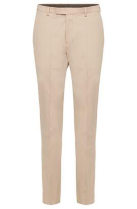 Plain regular-fit trousers in stretch cotton: 'Leenon', Beige