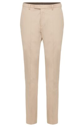 Pantalon uni Regular Fit en coton extensible : « Leenon », Beige