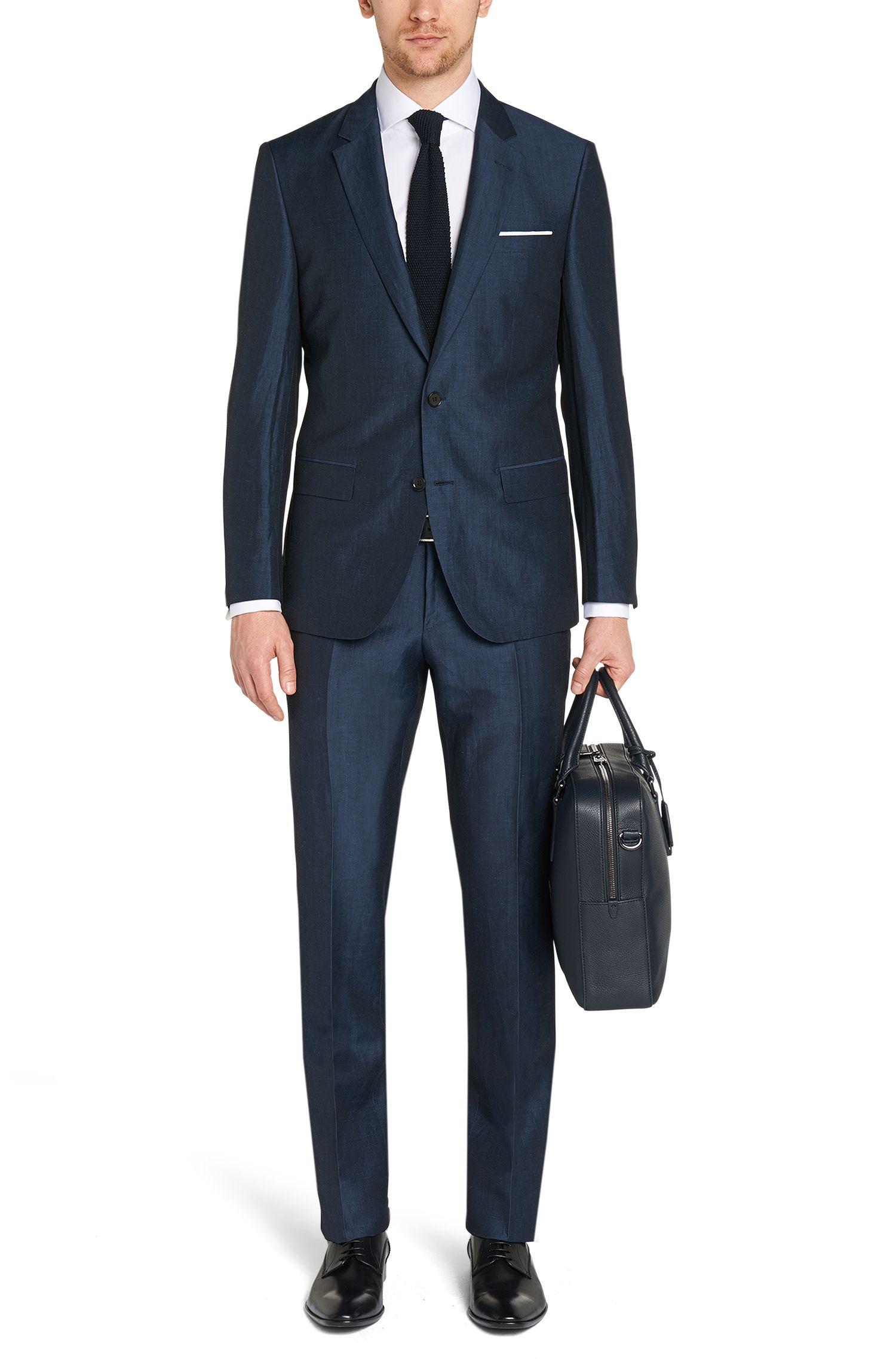 Costume Slim Fit en lin mélangé, avec de la soie: «T-Harvers1/Glover1», Bleu