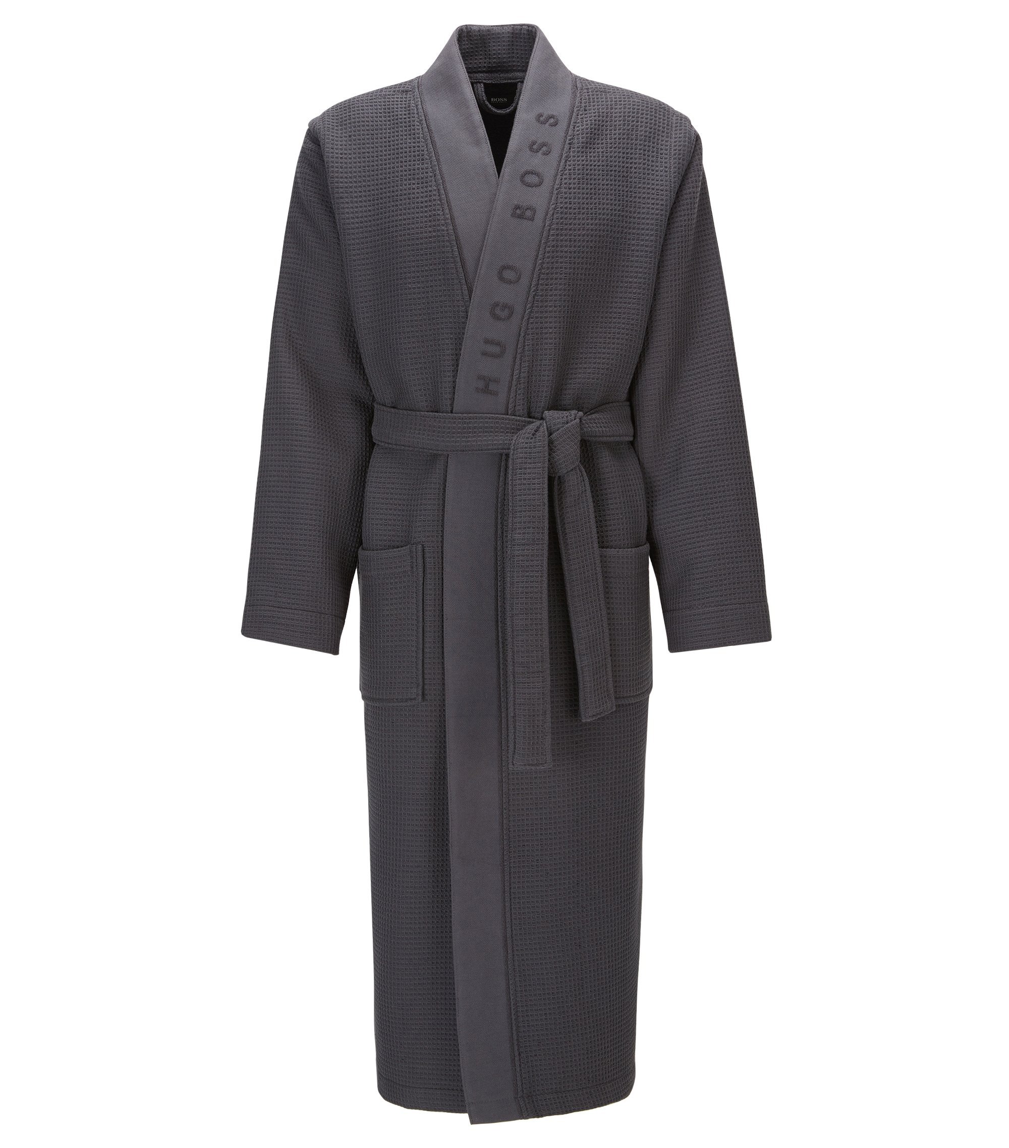 Dressing gown in structured fabric, Dark Grey