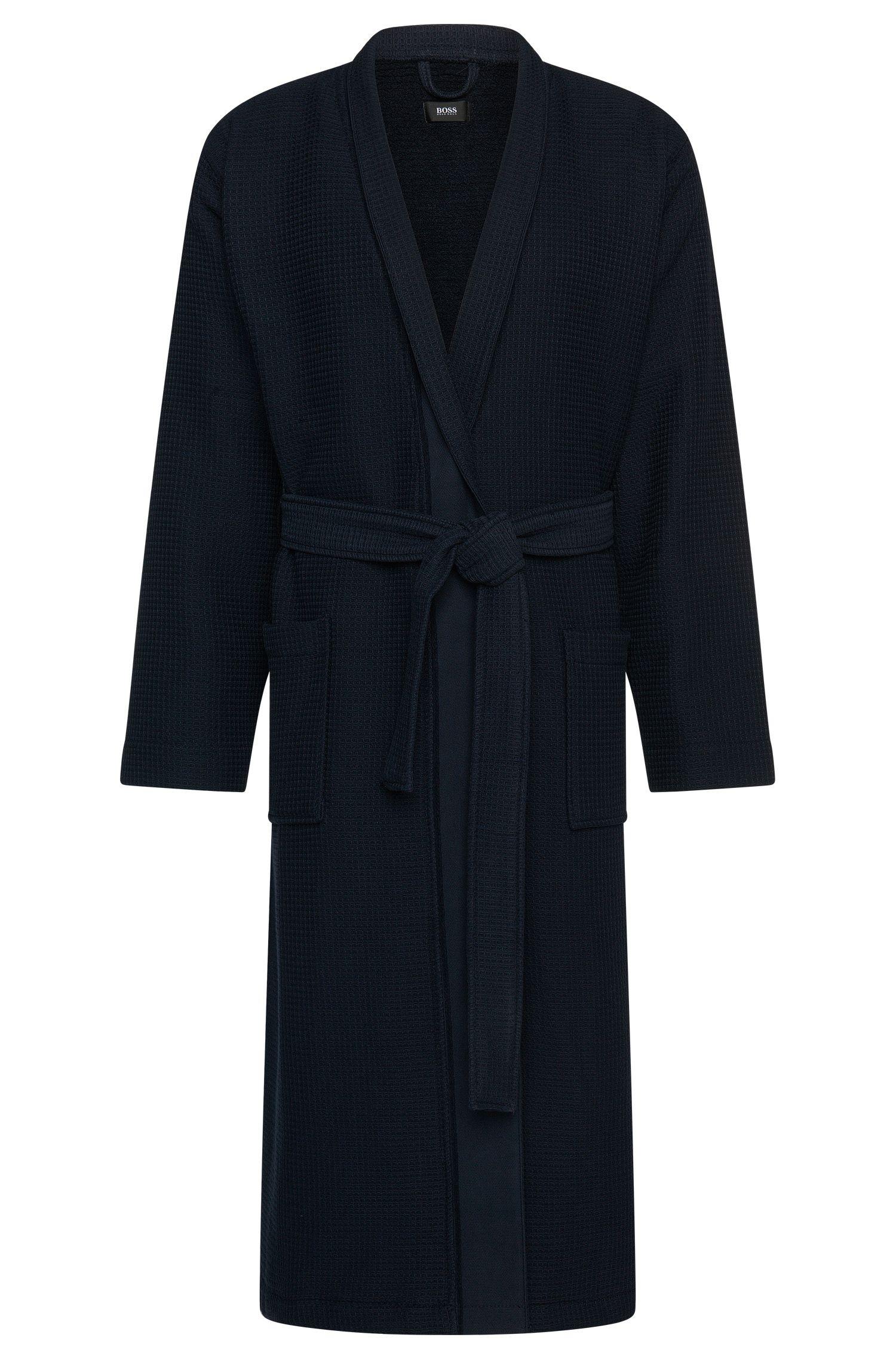 Textured bathrobe in cotton and viscose: 'Kimono'