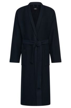 Textured bathrobe in cotton and viscose: 'Kimono', Dark Blue