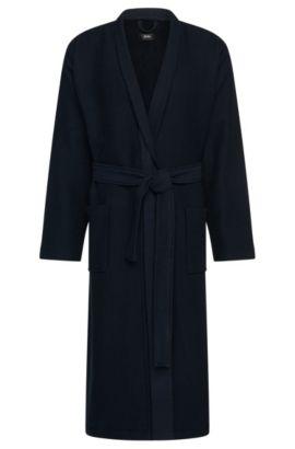 Albornoz con textura en algodón y viscosa: 'Kimono', Azul oscuro