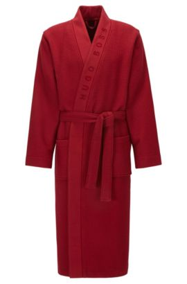 Dressing gown in structured fabric, Dark Red