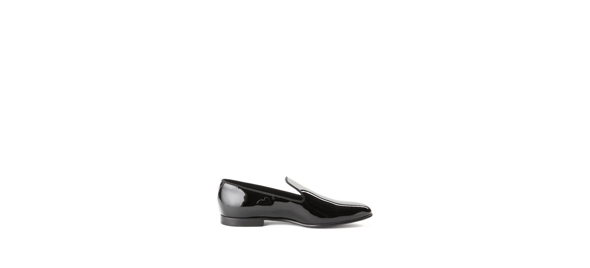 Contemporary loafers in Italian patent leather , Black