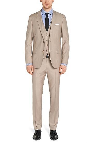 Costume Slim Fit avec gilet en laine vierge mélangée à de la soie: «Huge4/Genius3 WE», Beige clair