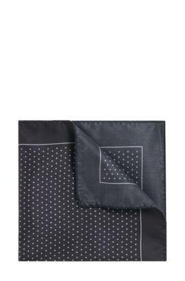 Gemustertes Einstecktuch aus reiner Seide: 'Pocketsquare 33 x 33 cm', Schwarz