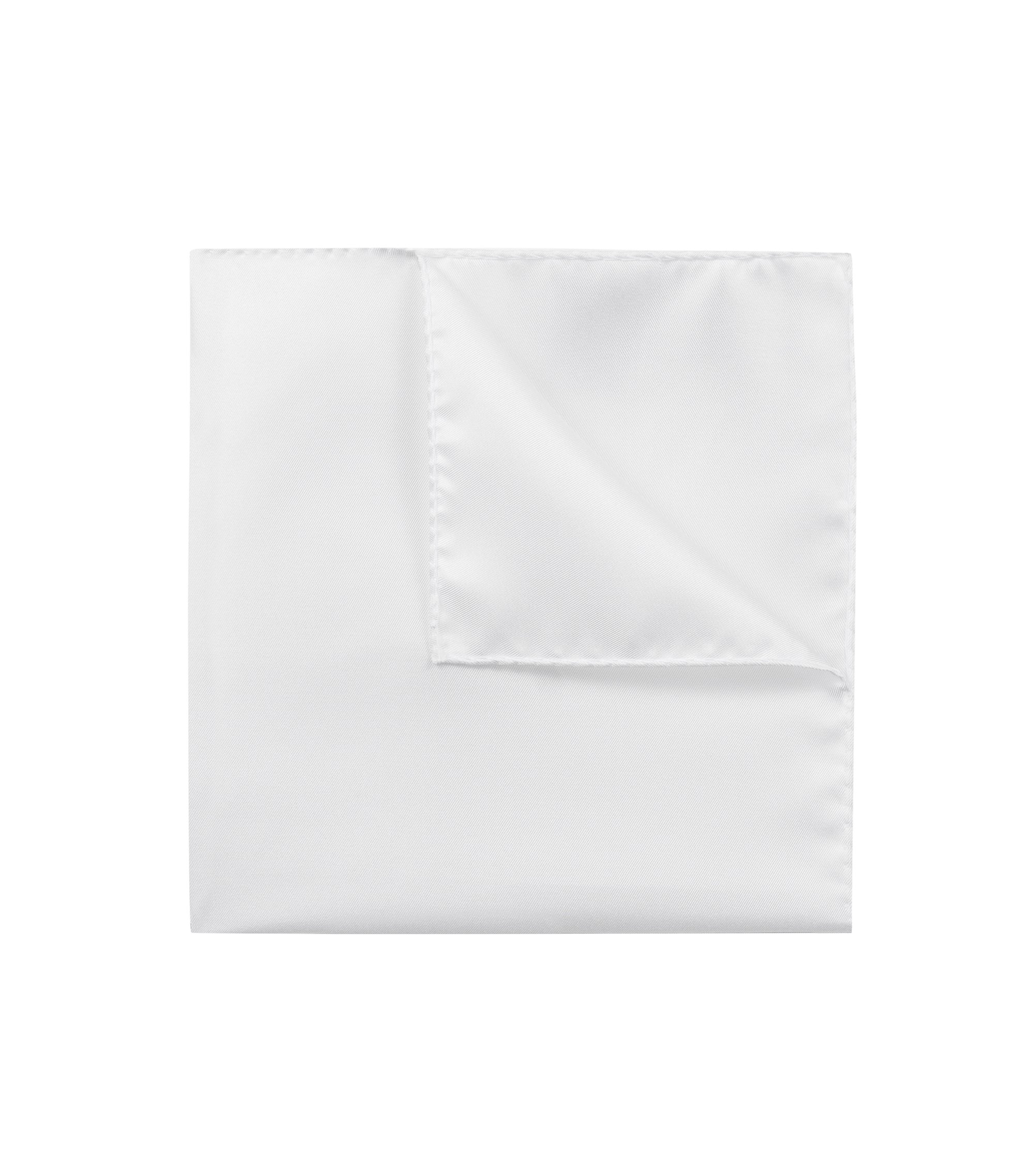Pocket square in fine silk twill, Open White