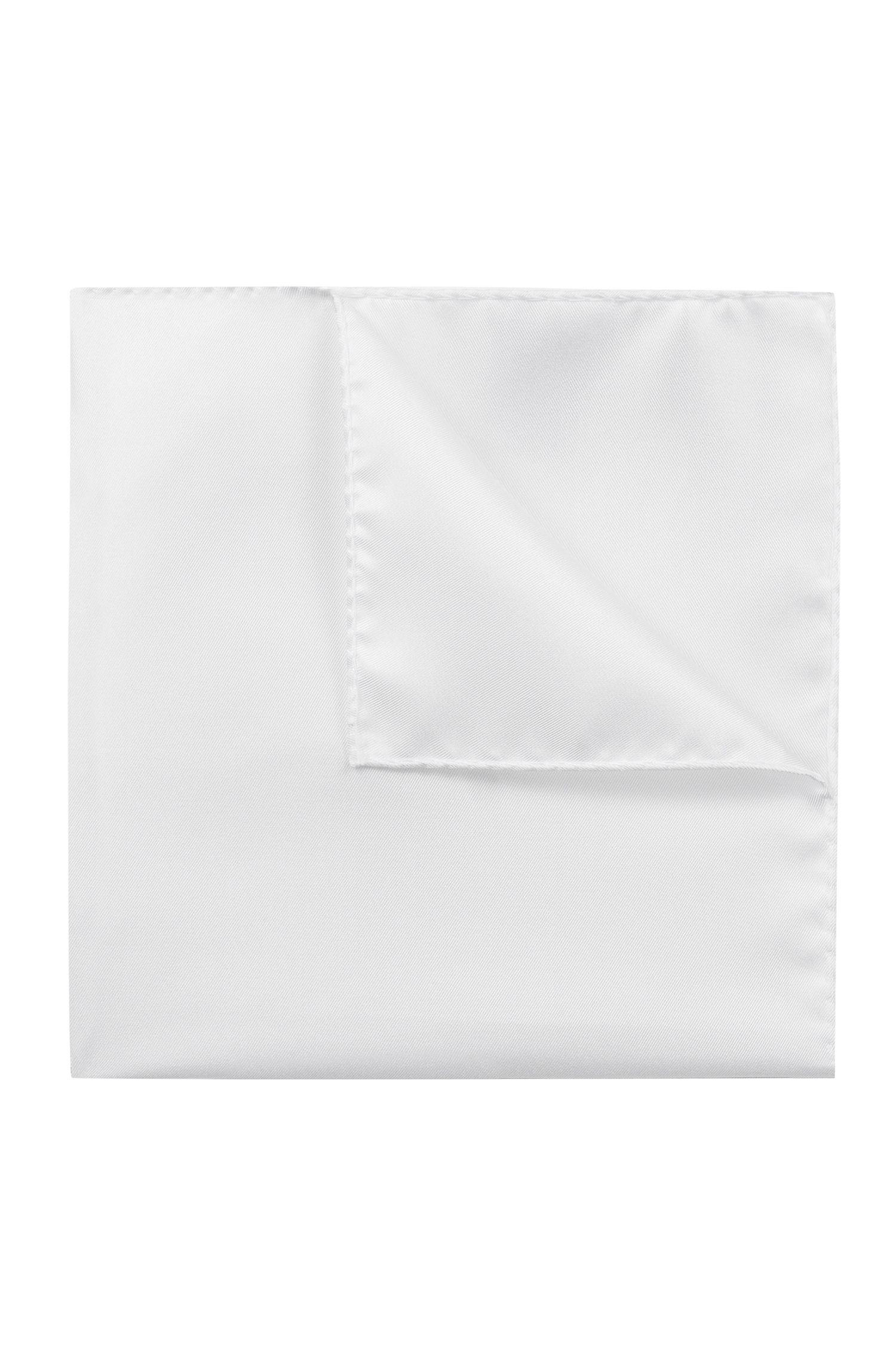 Pañuelo de bolsillo en sarga de seda exclusiva, Blanco