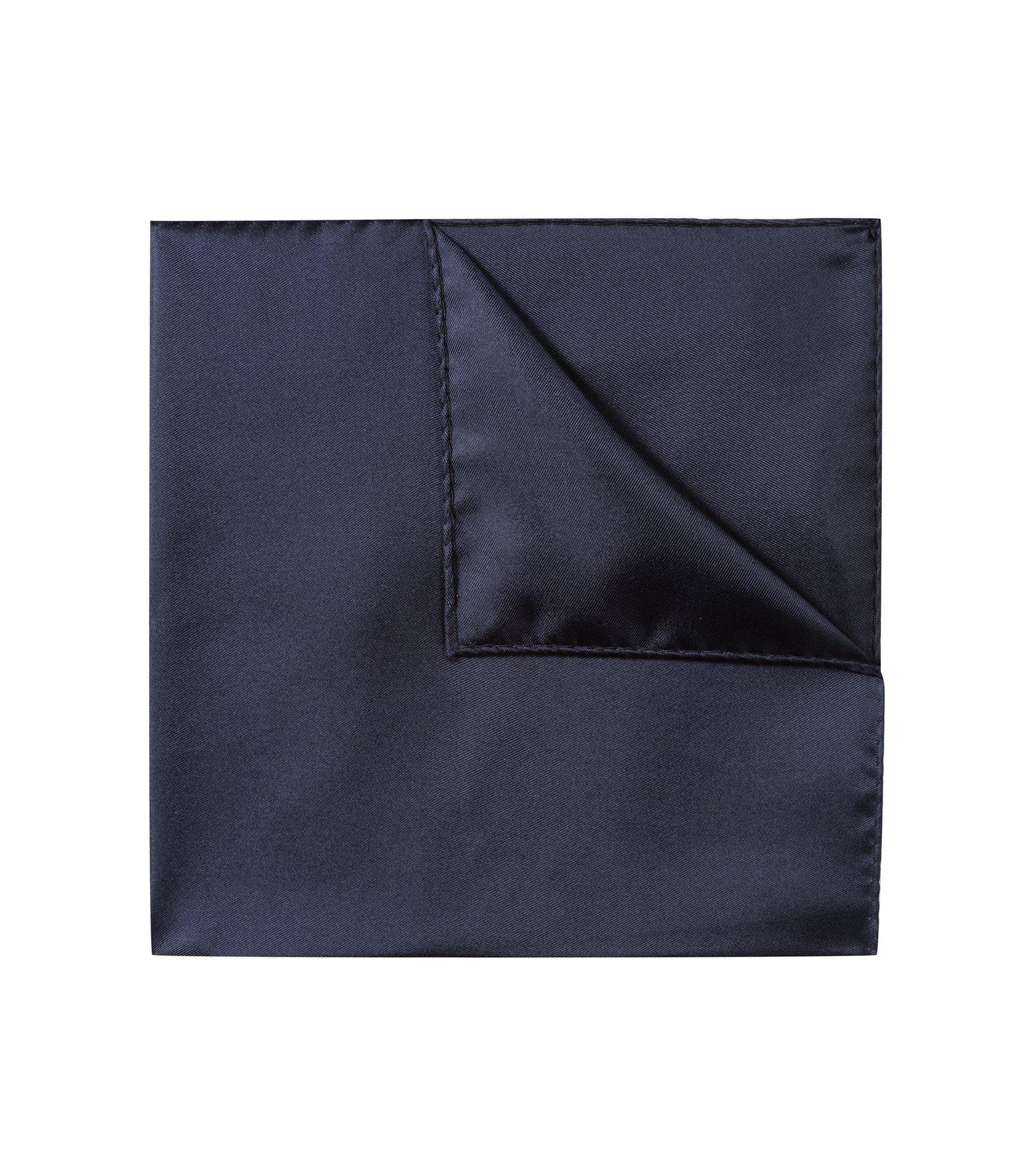 Pochette da taschino in raffinato twill di seta, Blu scuro
