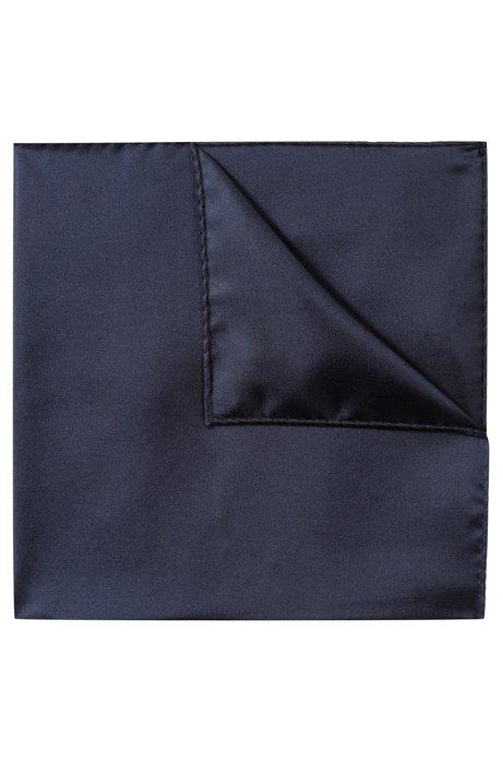 Pochette en sergé de soie raffinée, Bleu foncé