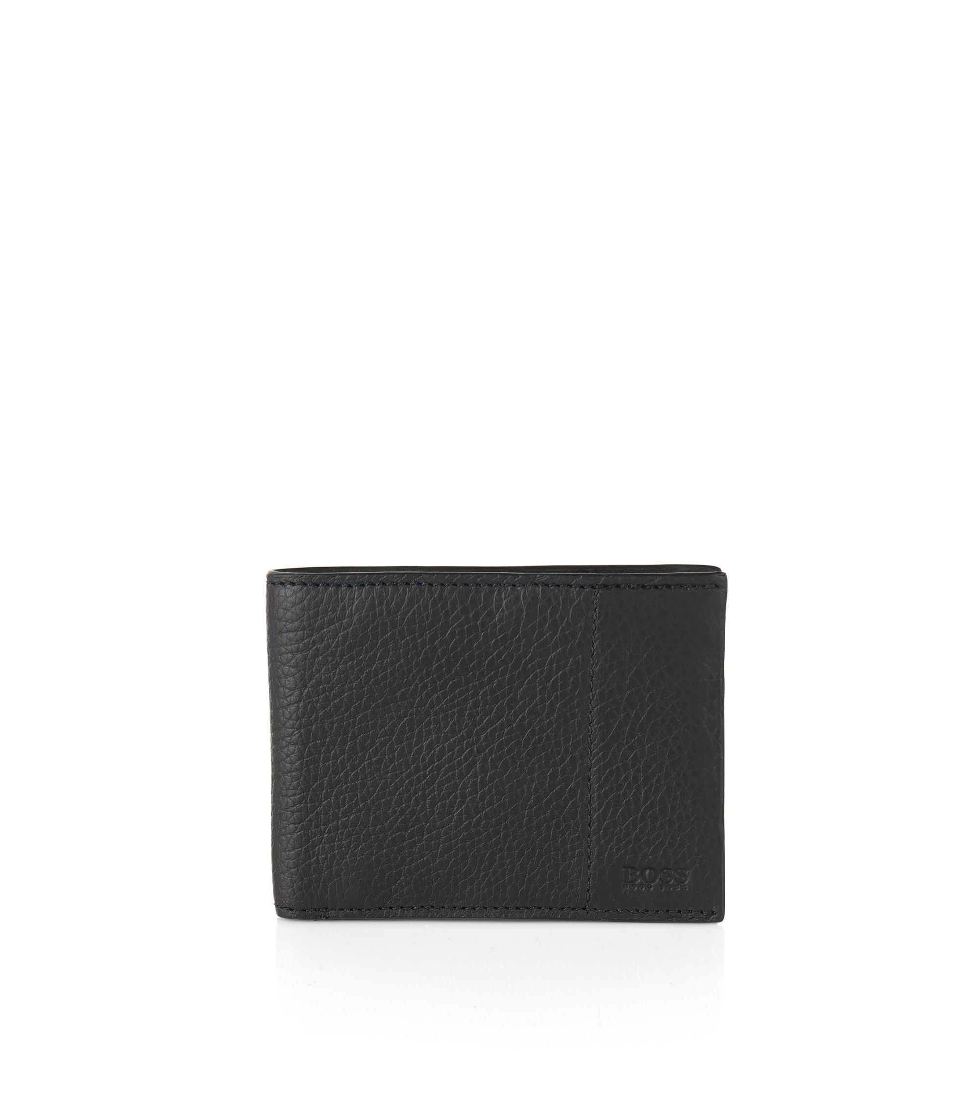 Porte-monnaie en cuir nervuré: «Traveller_6 cc», Noir