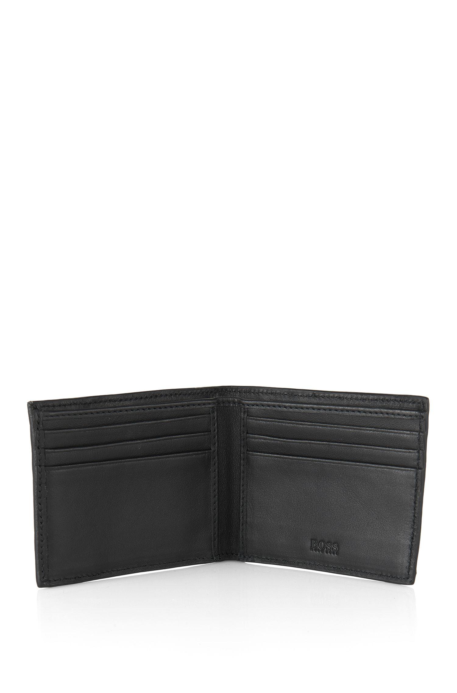 Openklapbare portemonnee van Italiaans leer, Zwart