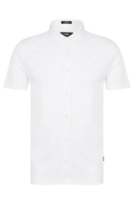 Buttoned slim-fit polo shirt in cotton: 'Puno 02', White